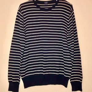 J. CREW | Navy & Cream Striped Crew Neck Sweater